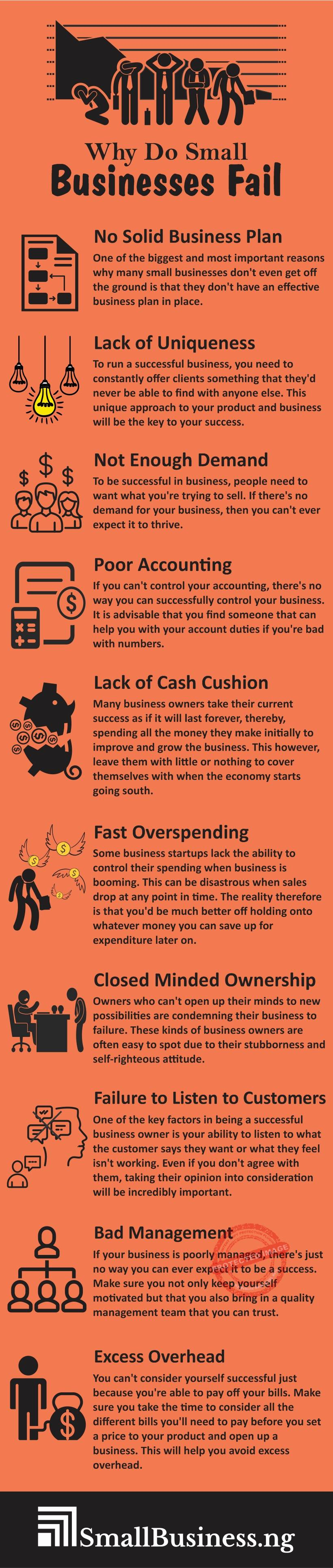 Why do small businesses fail infographic