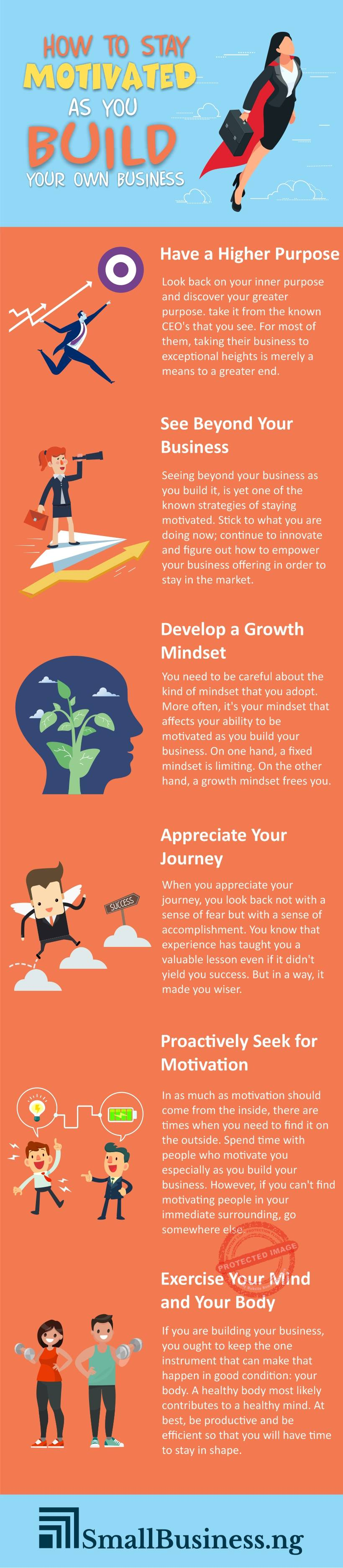 How To Stay Motivated As You Build Your Own Business Infographic