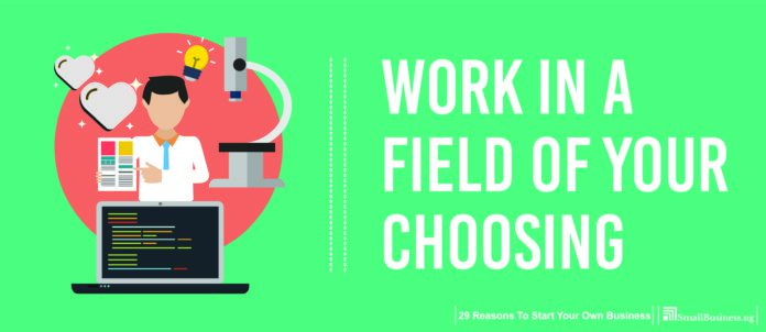 Work in a Field of Your Choosing. 29 Reasons to Start Your Own Business